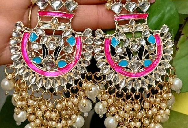 Heavy Look Gold Plated Meenakari Earrings with Pearl Work | Ethnic Meena Earring
