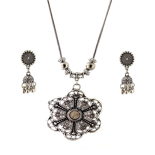 Oxidized Chain Necklace Set in Traditional Flower Pendent with  Jhumka