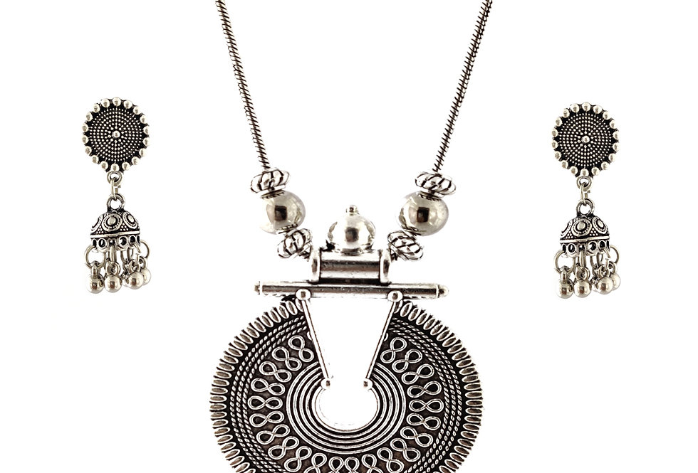 Oxidized Chain Necklace Set in Stylish Pendent with  Jhumka