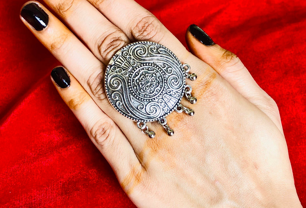 Traditional Oxidized Rings, German Silver Ring, Designer Oxidised Rings