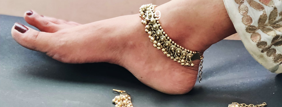 Oxidized gold plated ghunghru anklet, bollywood style ghunghroo payal for girls