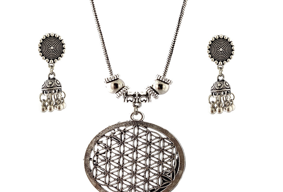 Oxidized Chain Necklace Set in Round Jaali Style Pendent  with  Jhumka