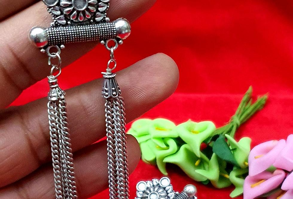 Long Oxidized German Silver Chain Earring ,  Hanging Earrings