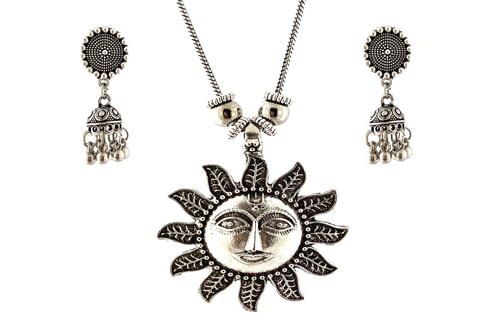 Oxidized Chain Necklace Set in Lord Sun / Surya  Pendent with  Jhumka