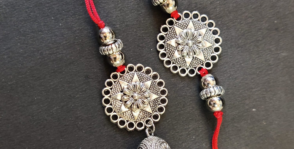 Silver Plated Oxidised Bhaiya Bhabhi Rakhi, Traditional Pure German Silver Rakhi