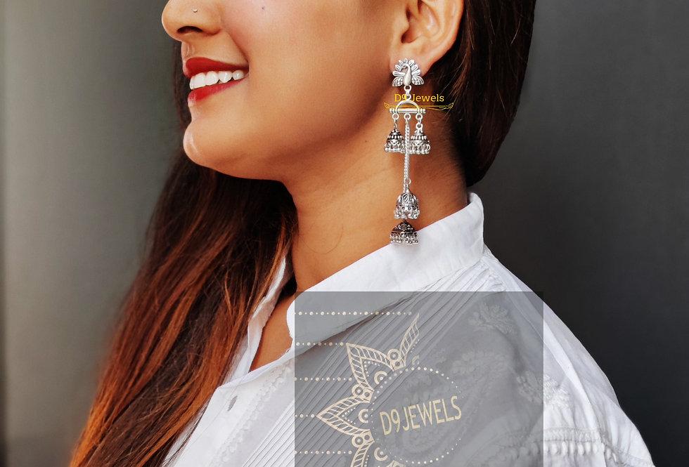 Oxidised Peacock Chain layered Jhumki Earring