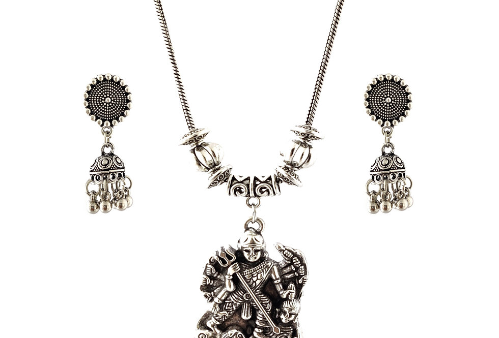 Oxidized Chain Necklace Set in Lord Durga Mata Pendent  with  Jhumka