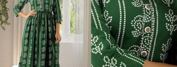 Beautiful Anarkali Style Rayon Fabric Kurti for Girls , Green Color Kurties