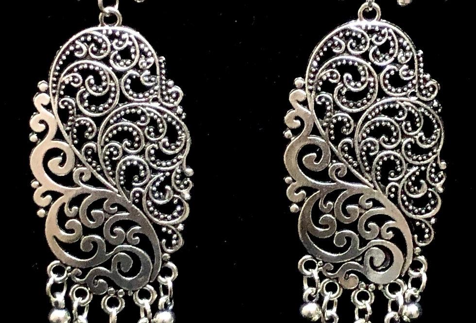 Designer Long Shape Floral Design Jhumki Earring with Stud