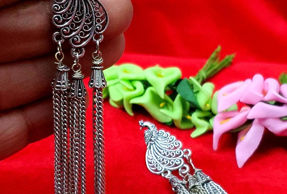 Unique Peacock Shape German Silver Chain Earring , Hanging Earrings