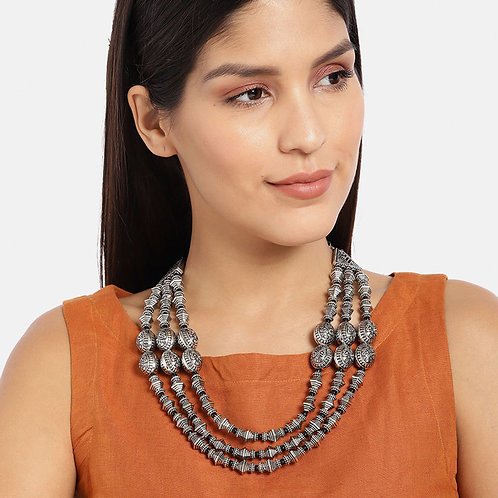 D9creation Silver Plated Beads Necklace   Oxidized Navratri Special Jewelry