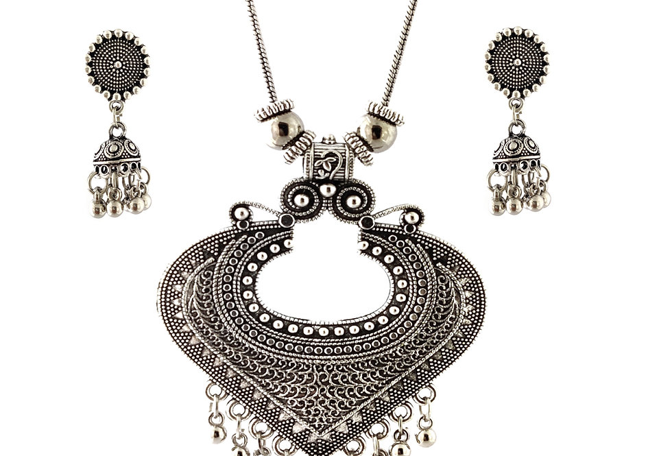 Oxidized Chain Necklace Set in Stylish Heart Shape Pendent  with  Jhumka