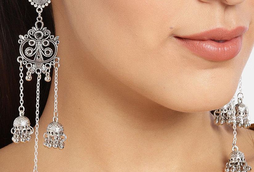 Oxidized Stylish Earrings With Jhumka | Dangle Drop Stud Earrings