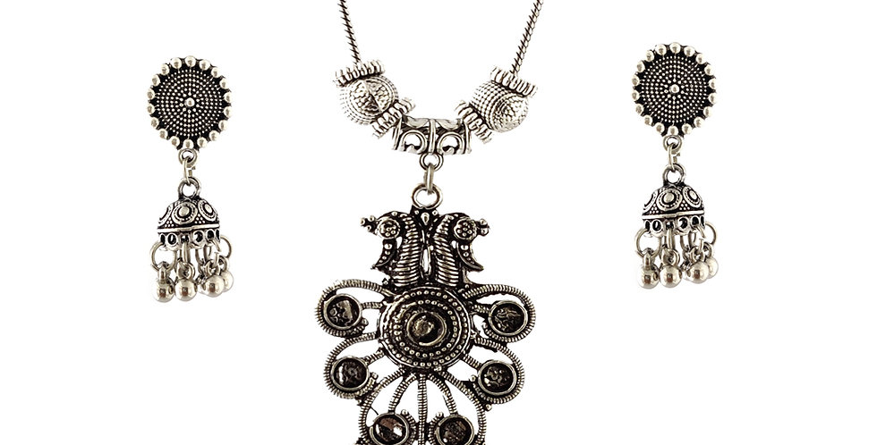 Oxidized Chain Necklace Set in Traditional Peacock Pendent  with  Jhumka
