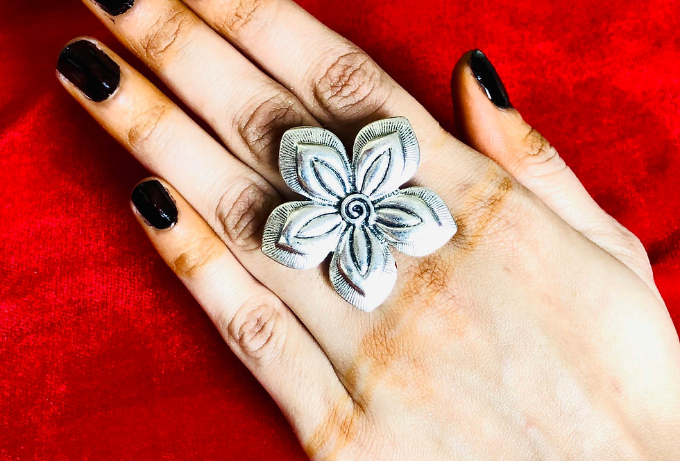 Traditional Oxidized Flower Rings, Boho Ring, oxidised silver rings india