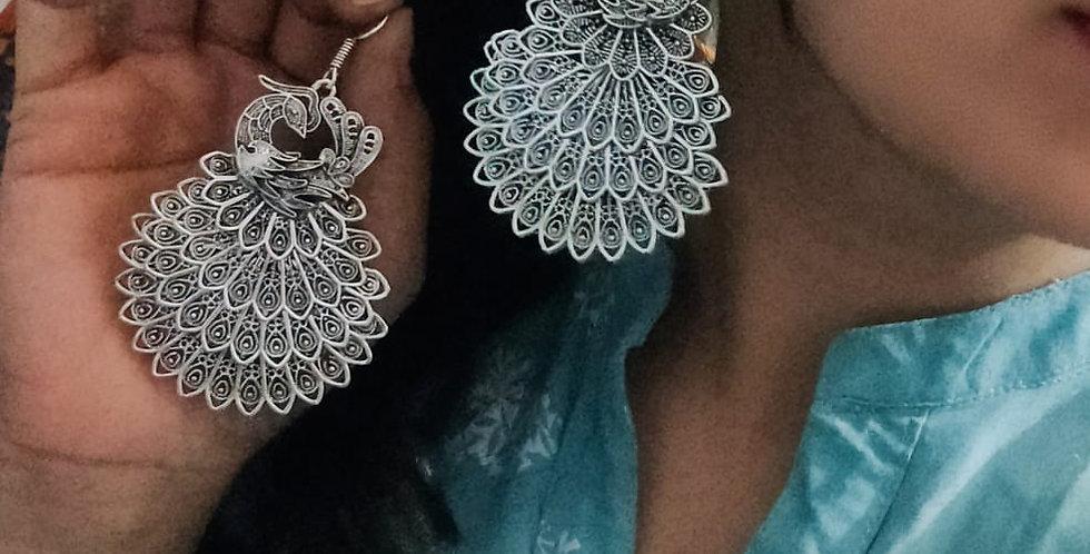 German Silver Oxidized Peacock Hanging Earrings | Hook Earrings
