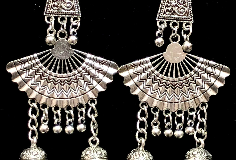 Traditional Oxidized Wing Style Earring with Double Jhumki For Girls