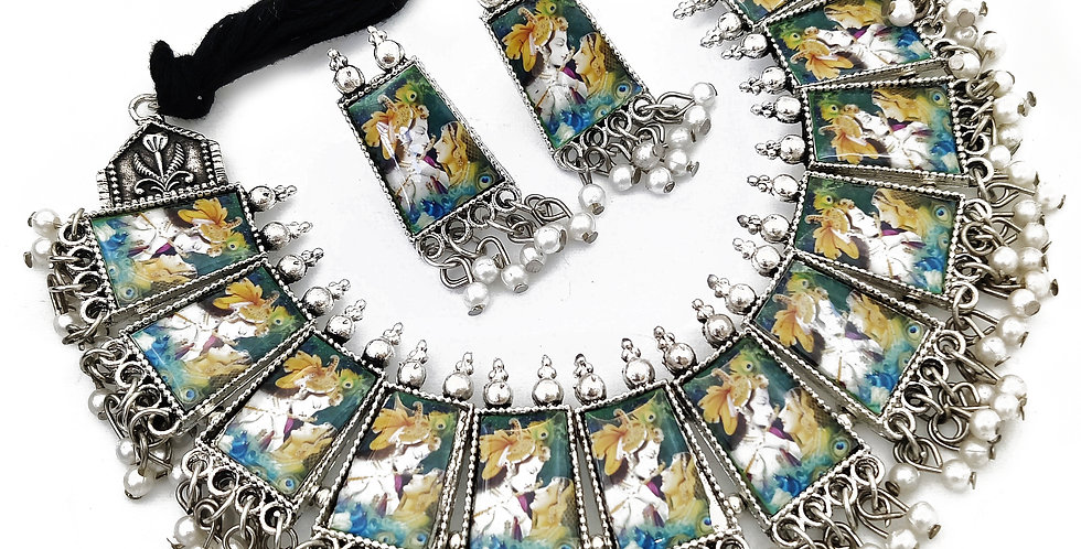 Oxidized Radha Krishna Photo Meenakari Necklace Set for Girls
