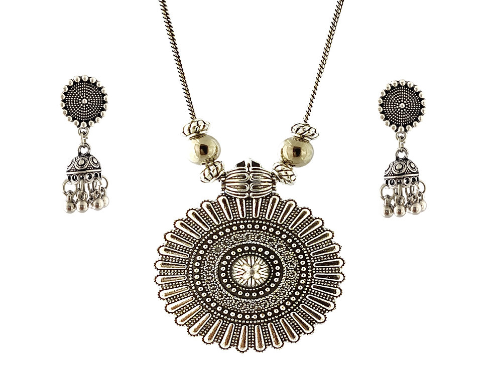 Oxidized Chain Necklace Set in Flower Style with  Jhumka
