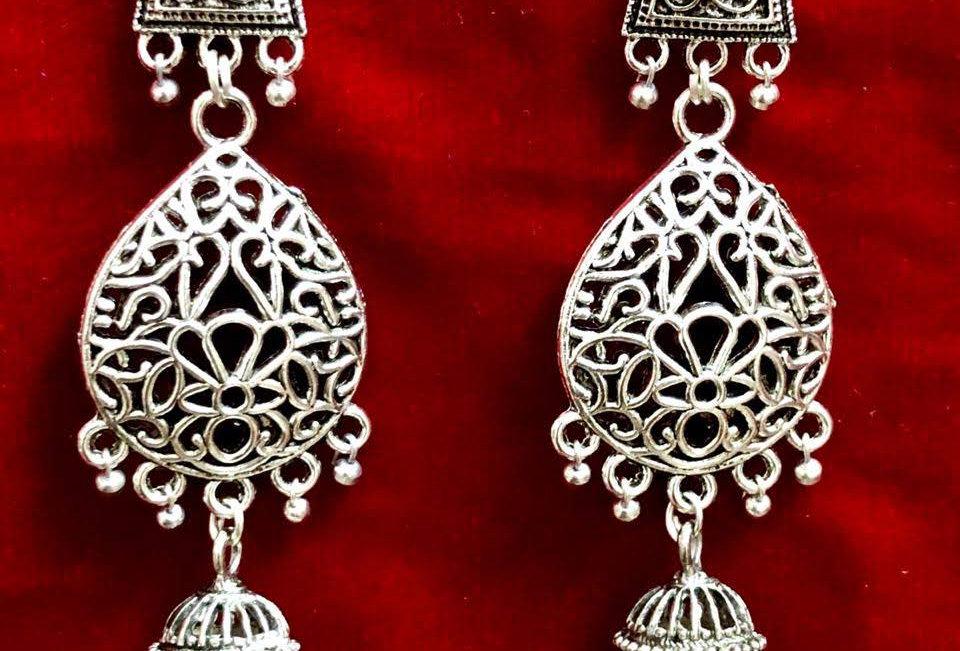 Oxidie Earrings in Drop Shape and Jhumka Earrings