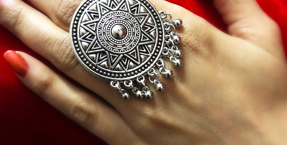 Silver Plated Bohemian Style Adjustable Ring, Indian Jewelry for Girls