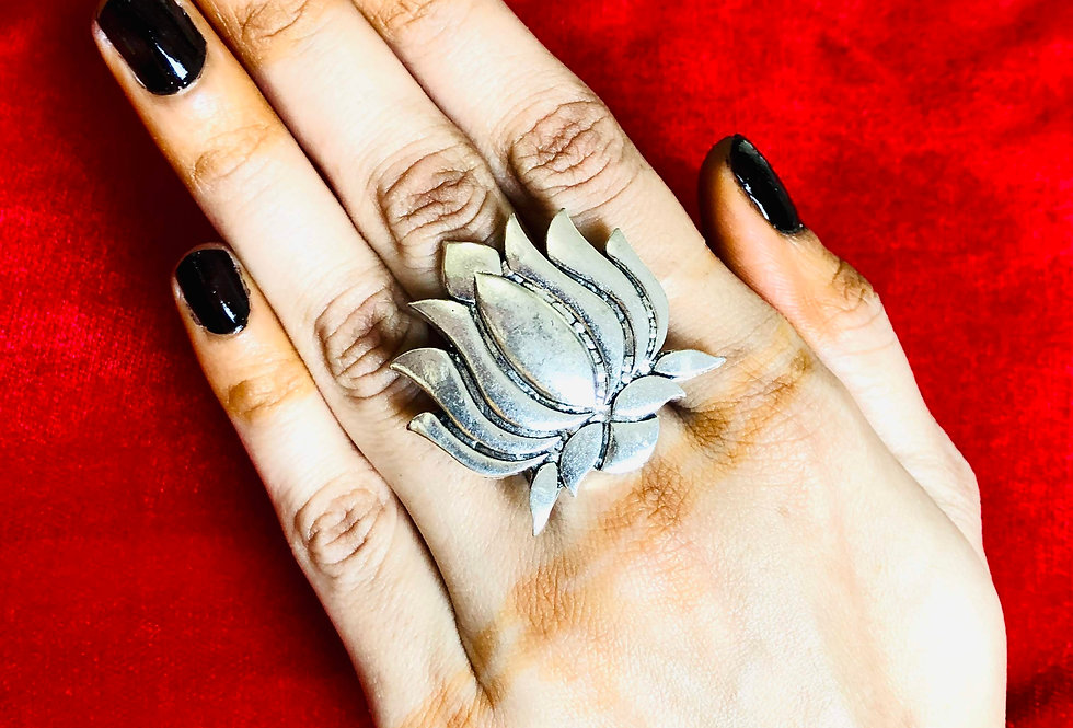 Oxidized Lotus Rings, Adjustable German Silver Ring, Kamal Ring in Silver Plated