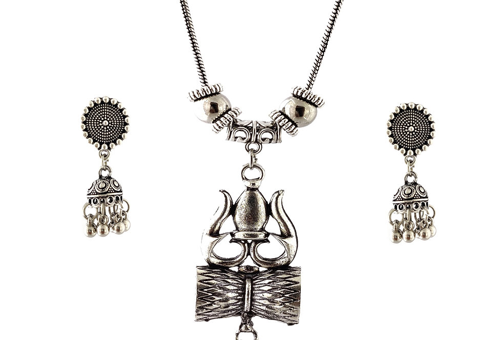 Oxidized Chain Necklace Set in Load Shiva Trishul Style with  Jhumka