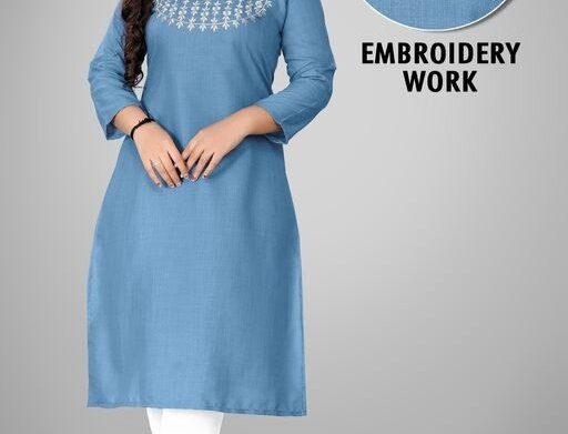 Casual Wear Cotton  Embroidery Work three Quarter Sleeves Kurti for Girls