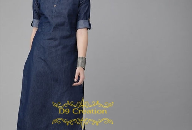 Pure Cotton Demin Straight Kurti for Girls & Women ( Nevy Blue Color )
