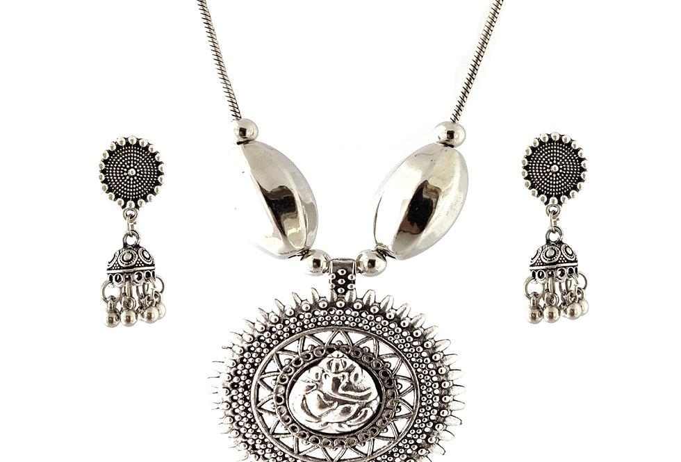 Oxidized Chain Necklace Set in Stylish Round Ganesha Pendent  with  Jhumka