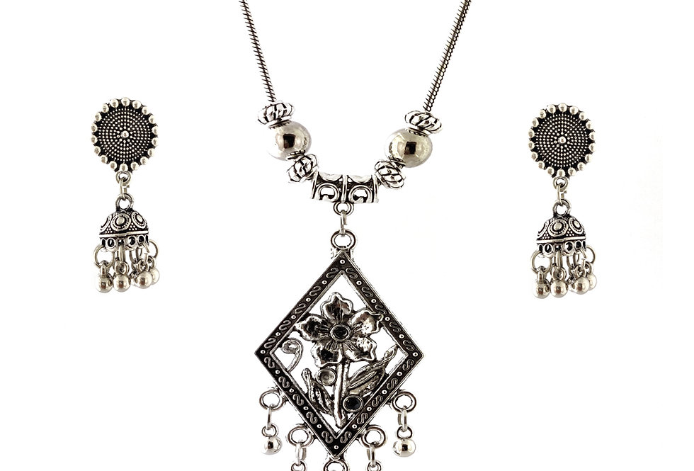 Oxidized Chain Necklace Set in Flower Pendent with  Jhumka