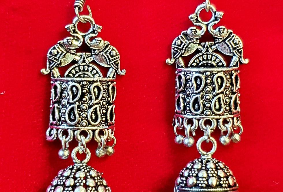 Round Shape German Silver Chain Earring , Oxidized Hanging Earrings