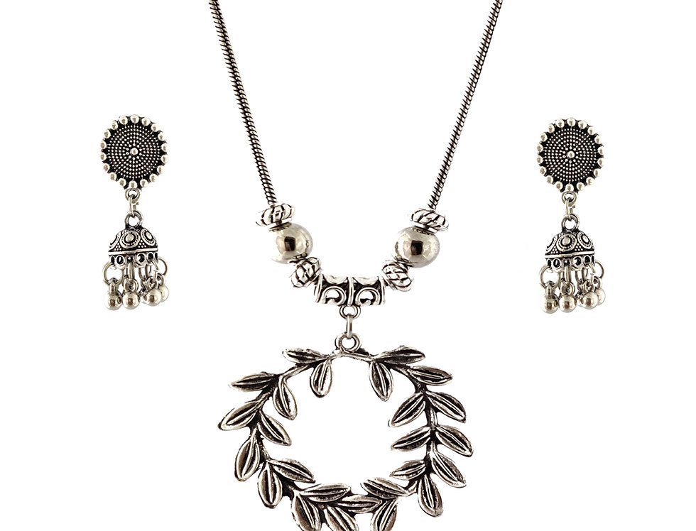 Oxidized Chain Necklace Set in Stylish Round Leaf  Pendent  with  Jhumka