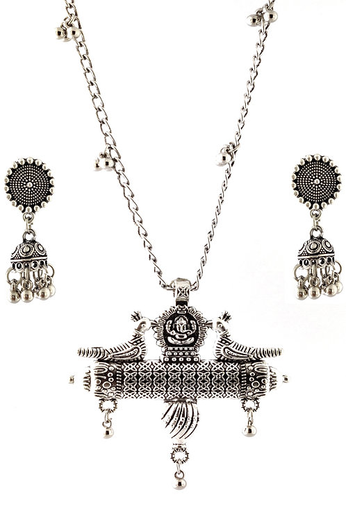 Oxidized Chain Necklace Set in Lord Ganesha Peacock Pendent with  Jhumka