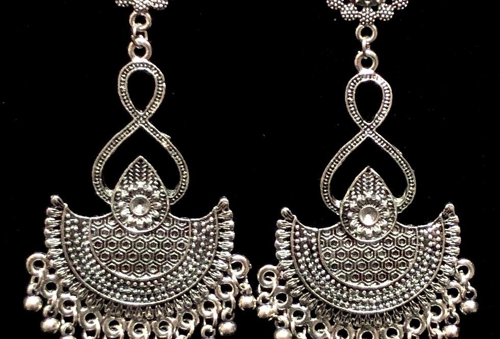 Oxidized Long Size Chandbali Earrings , Silver Plated Stud Earring