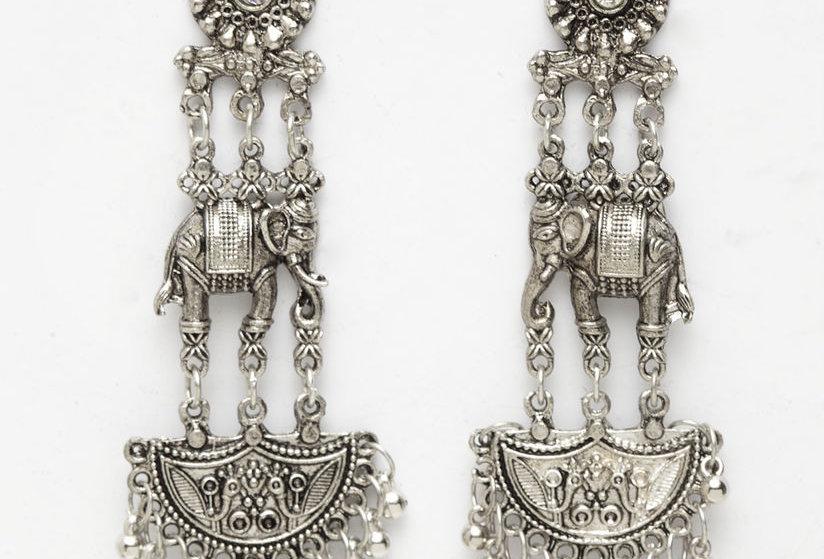 Traditional Oxidized Elephant Stud Dangle Drop Earrings | German Silver Earrings