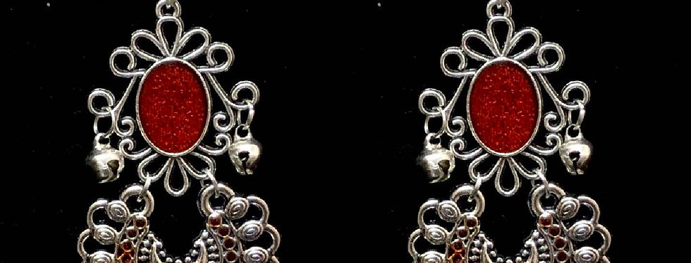 Red MeenaKari Oxidized Chandbali Earrings with Stud Pushback Facility