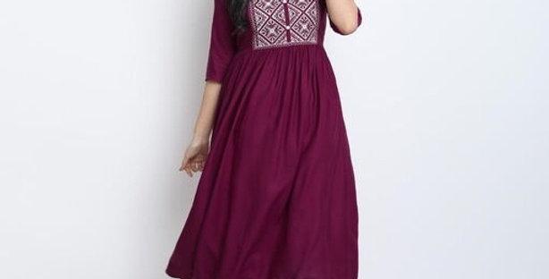 Trendy Sobar Style Sansational Rayon Kurti For Girls, Anarkali Look Kurti