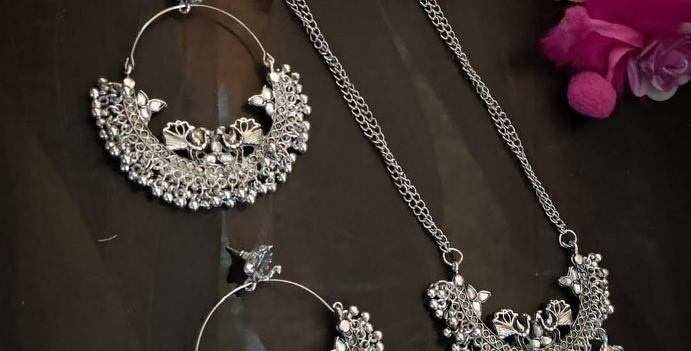 Oxidized Peacock Necklace with Matching Chand Bali Earrings White Stone