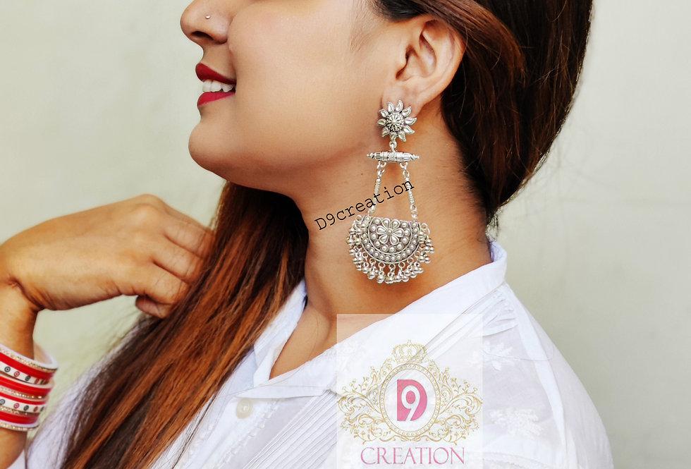 Oxidized Ethnic Chandbali Earring   German SilverJewellery