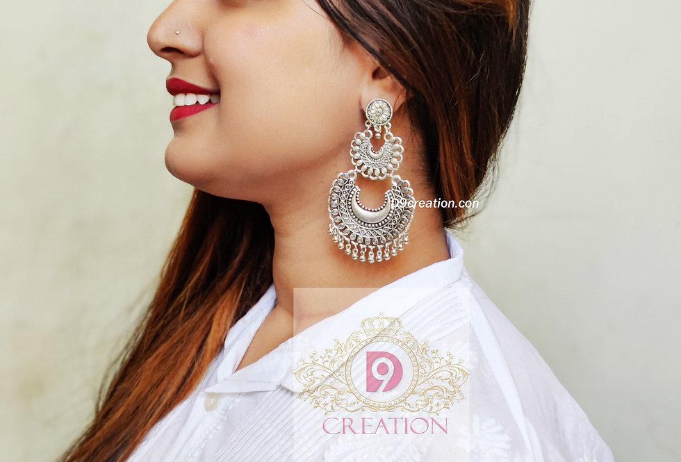 Oxidised Earrings | German Silver Chandbali Stud Online