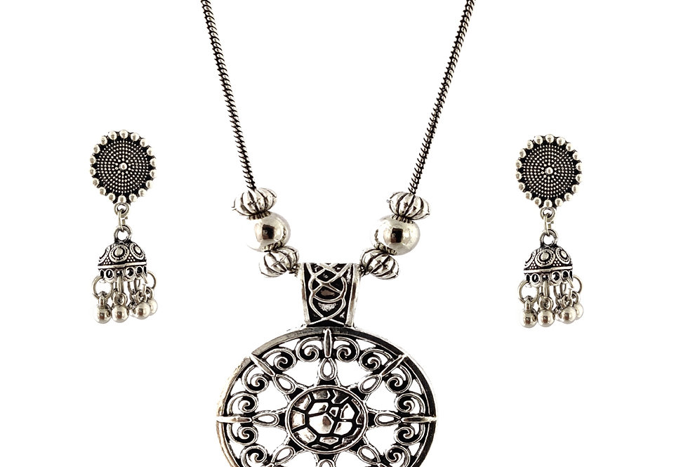 Oxidized Chain Necklace Set in Beautiful Pendent with  Jhumka