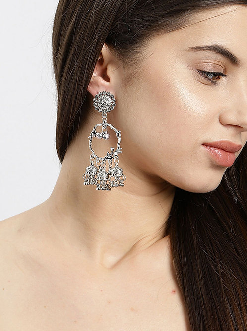 Light Weight Oxidized Angle Jhumka Earrings | Dangle Drop Earrings