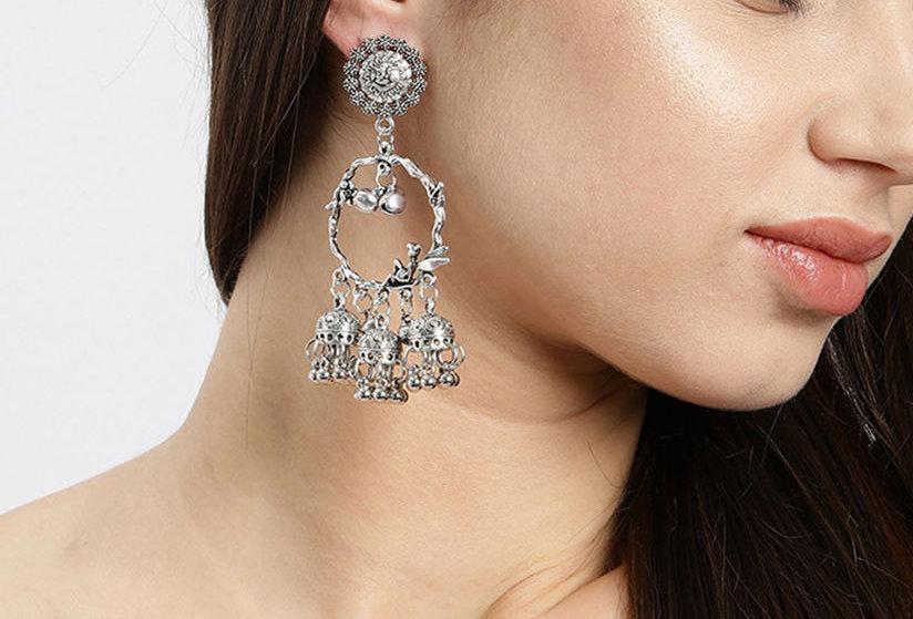 Light Weight Oxidized Angle Jhumka Earrings | Dangle Drop Earrings