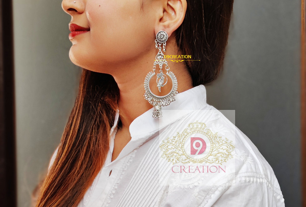 Chandbali Indian Style Oxidized Earrings with Parrot Charms Hanging in Center