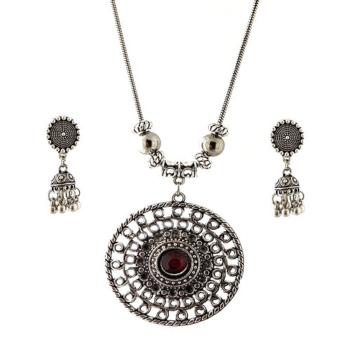 Oxidized Chain Necklace Set Purple Stone Pendent with  Jhumka
