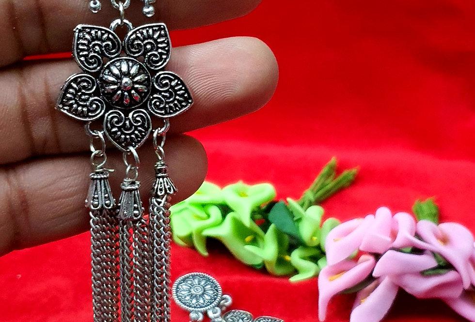 Peacock Stud Shape German Silver Chain Earring ,  Hanging Earrings