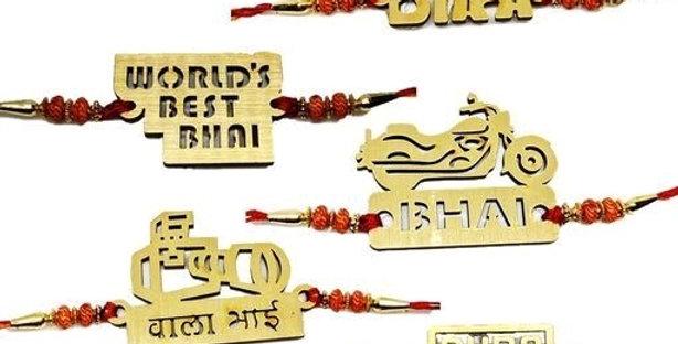 7 Rakhi Combo Wood Cutting High Quality Rakhi For Best Bhai, Antique Rakhis