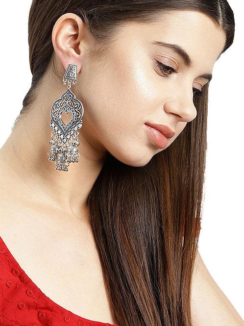 Stylish Oxidized Earrings | German Silver Stud Jhumka Earrings
