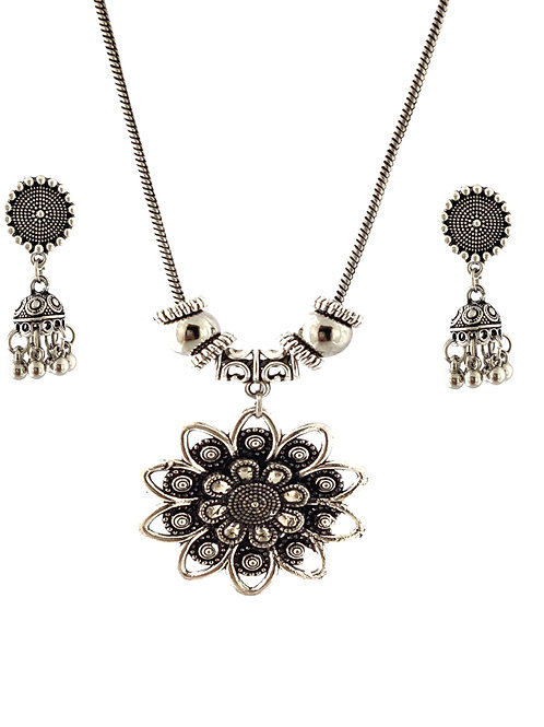 Oxidized Chain Necklace Set in Flower Style Pendent  with  Jhumka